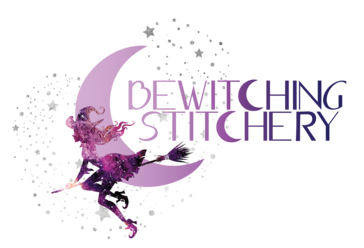 bewitching stitchery logo in purple of witch silhouette on broom in front of crescent moon and stars