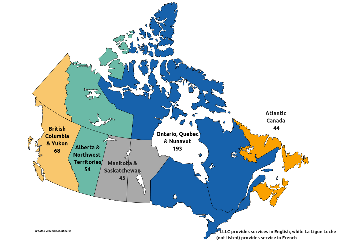 map of Canada with leaders listed per province statistics (Ontario, Quebec, Nunavut = 193, Saskatchewan & Manitoba = 45, Alberta & NWT = 54, BC & Yukon = 68, Atlantic = 44)