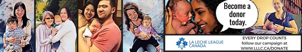 Every Drop Counts donation campaign request with graphic novel image styling of families, mothers, and babies breastfeeding.