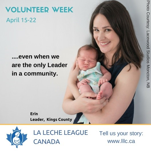 Leader Erin holding a newborn in an April 2018 volunteer week social media post