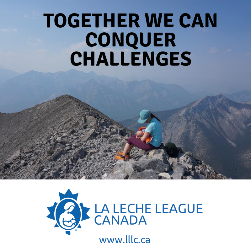 "Mother nursing baby on top of mountain with text ""Together we can conquer challenges"""