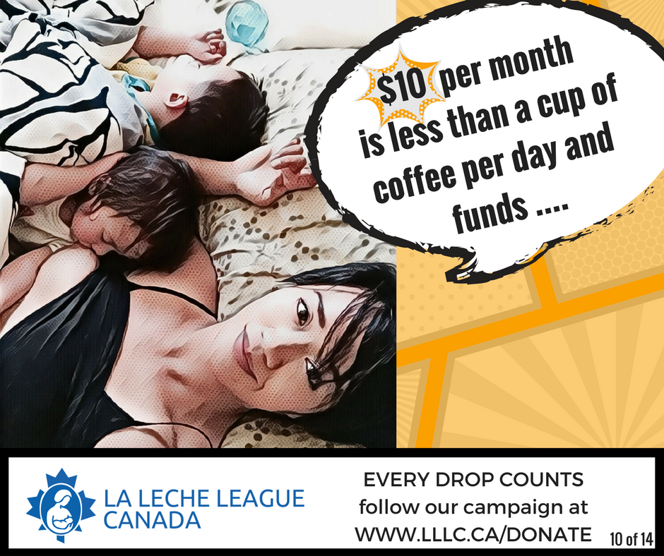 Mixed race Asian mother laying awake in bed breastfeeding a sleeping infant with a toddler beside them asleep in bed and the caption '$10 per month is less than a cup of coffee per day and funds....'