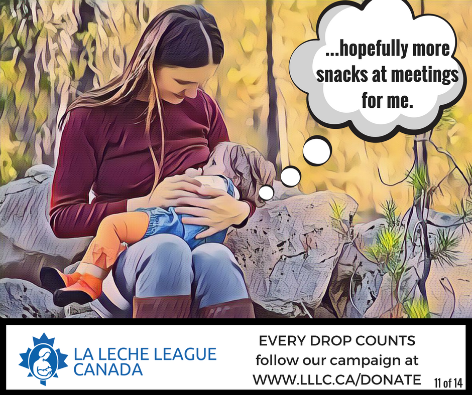 Caucasian mother breastfeeding toddler outdoors on a log with the thought bubble caption '....hopefully more snacks at meetings for me.'