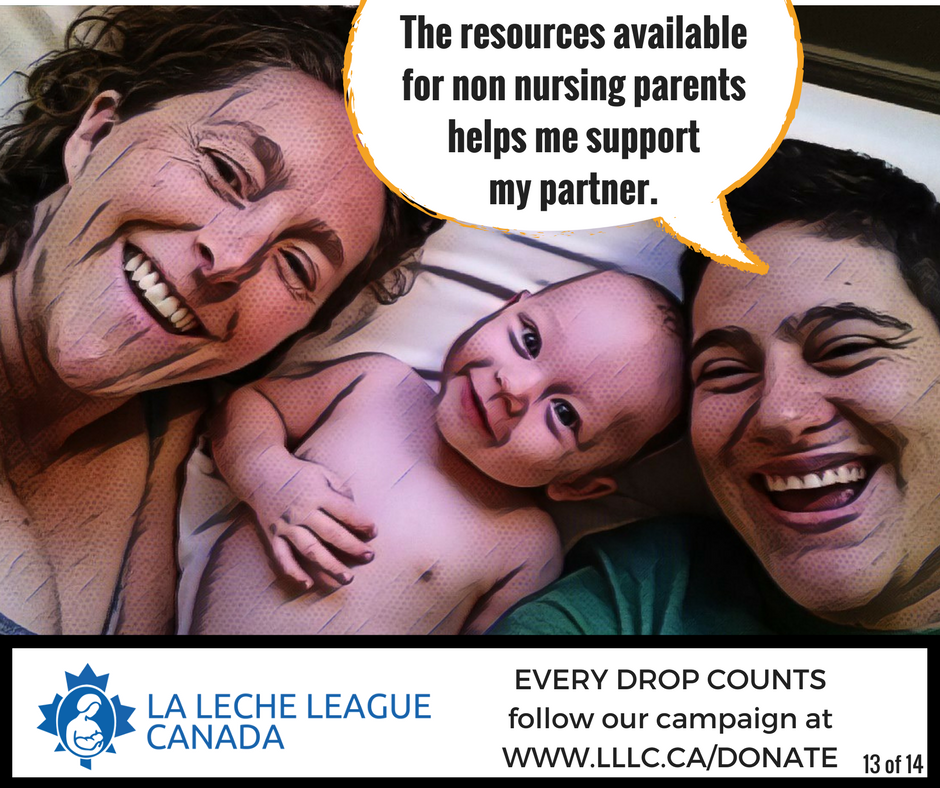 LGBTQI Caucasian couple laying awake smiling with baby awake in bed between them and the caption 'The resources available for non nursing parents helps me support my partner.'