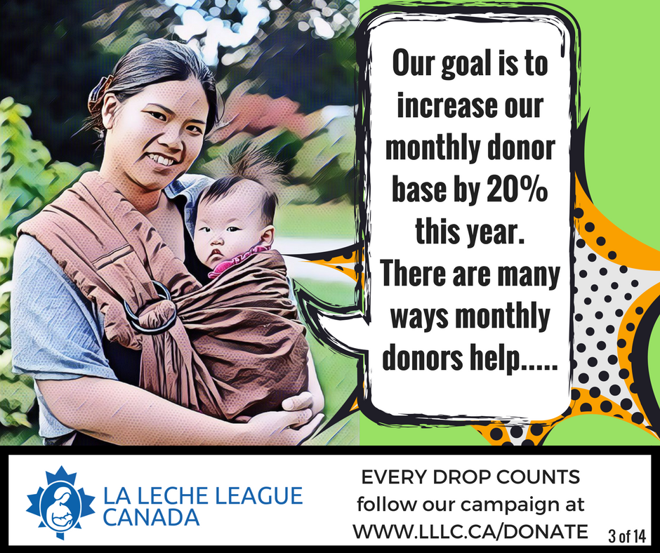 East Asian mother holding baby in a sling with the caption 'Our goal is to increase our monthly donor base by 20% this year. There are many ways monthly donors help...'