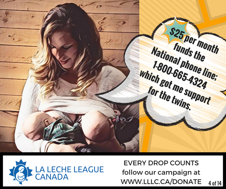 Caucasian mother tandem breastfeeding twins with the caption '$25 per month funds the National phone line; 1-800-665-4324 which got me support for the twins.'