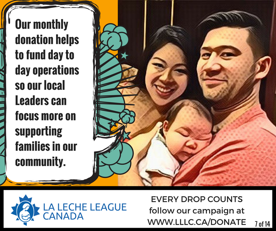 Asian mother and father sitting close with father holding infant and the caption 'Our monthly donation helps to fund day to day operations so our local Leaders can focus more on supporting families in our community.'