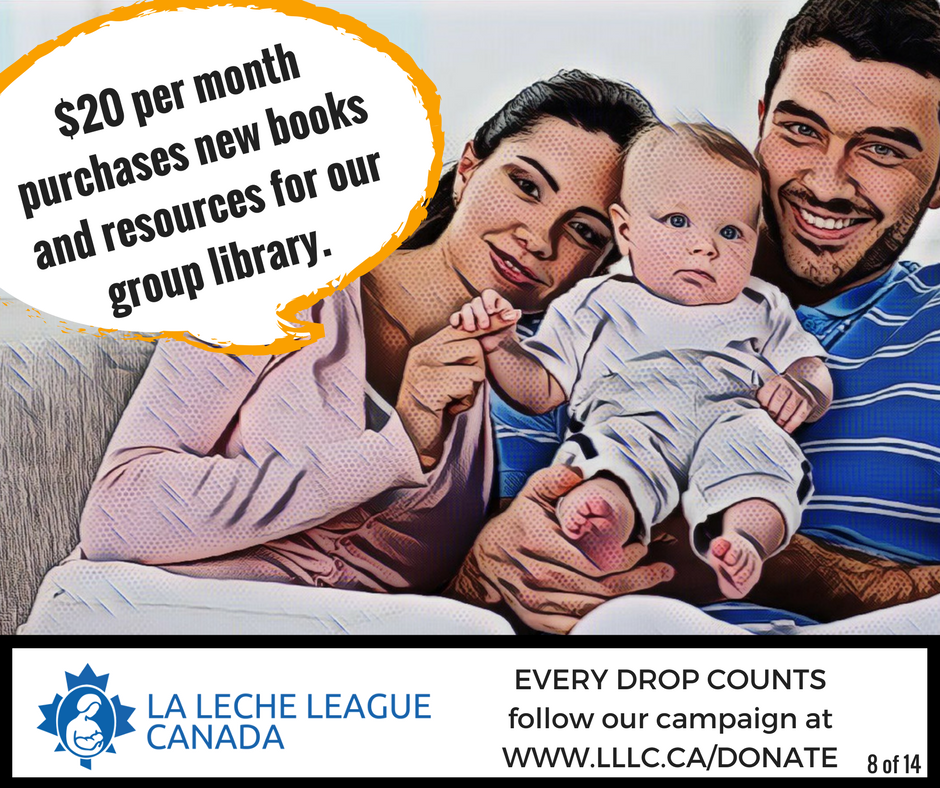 Caucasian mother, father, and infant sitting together with the caption '$20 per month purchases new books and resources for our group library.'